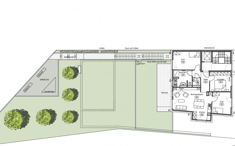 Grundriss Neubauwohnung Wangen 1. OG - M. Bayer Baukoordination