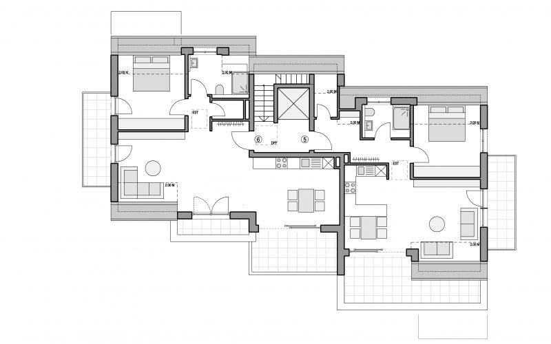 Grundriss Dachgeschoss Mehrfamilienhaus Altbach