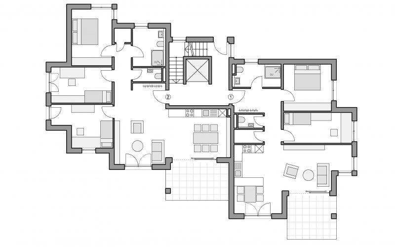 Grundriss Erdgeschoss Mehrfamilienhaus Altbach