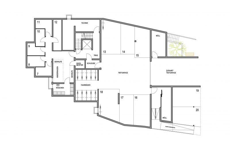 Grundriss Untergeschoss Mehrfamilienhaus Altbach