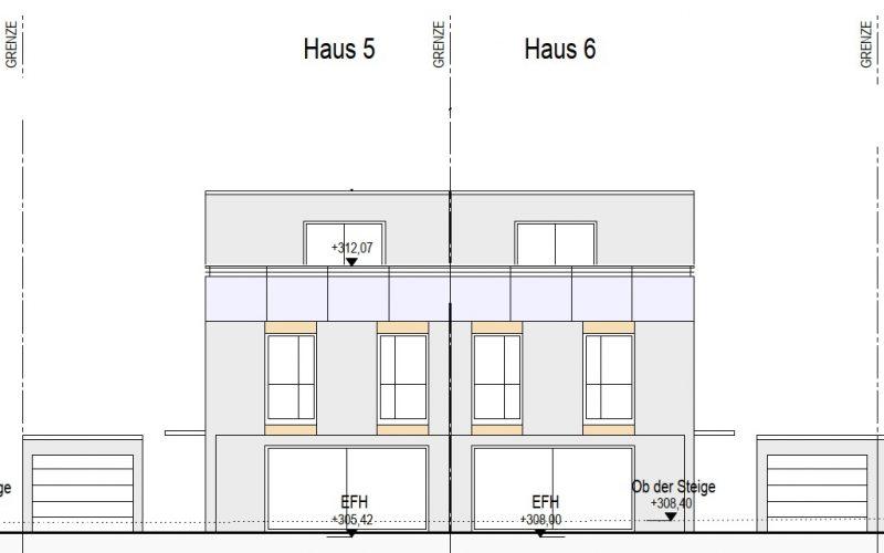 Ansicht Süd Haus 5+6, Neubauprojekt Deizisau Ob der Steige M. Bayer Baukoordination