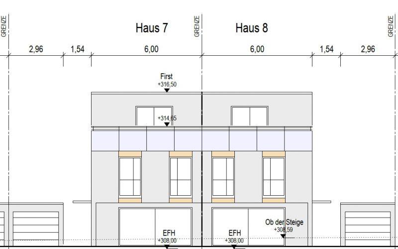 Ansicht Süd Haus 7+8, Neubauprojekt Deizisau Ob der Steige M. Bayer Baukoordination