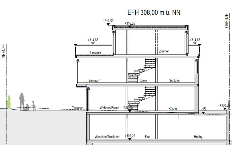 Schnitt AA_6, Neubauprojekt Deizisau Ob der Steige M. Bayer Baukoordination