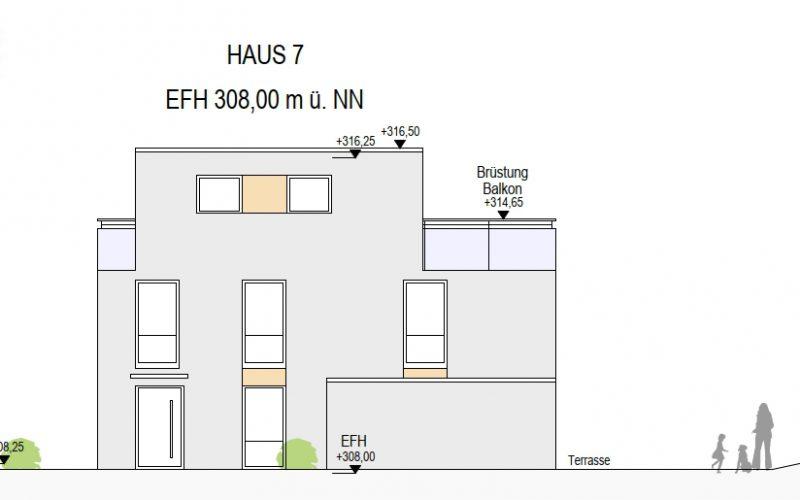 Ansicht West Haus 7, Neubauprojekt Deizisau Ob der Steige M. Bayer Baukoordination