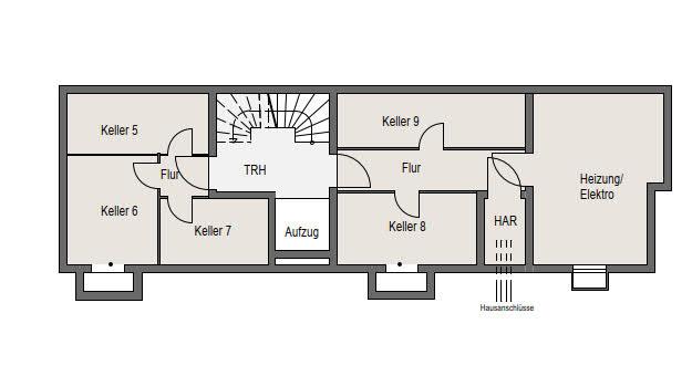 Neubauprojekt Deizisau 2. Untergeschoss, Kellerräume Haus 21